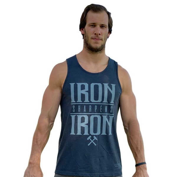 Iron Sharpens Iron Men's Tank (Charcoal)-Victory Apparel, Inc.
