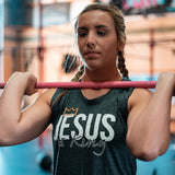 Jesus is King Women's Muscle Tank (Charcoal)-Victory Apparel, Inc.