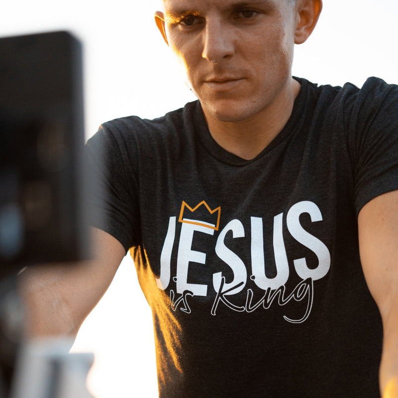 Jesus is King Tee (Vintage Black)-Victory Apparel, Inc.
