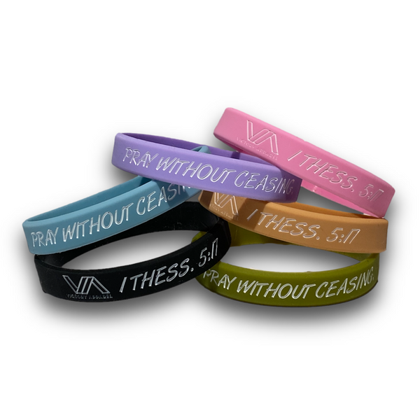 Pray Without Ceasing Silicone Wristband-Victory Apparel, Inc.