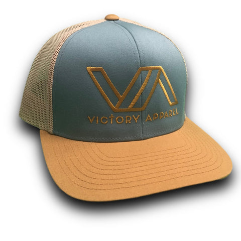 Victory Apparel Trucker Hat (Smoke Blue/Gold/Beige) | Victory Apparel, Inc.