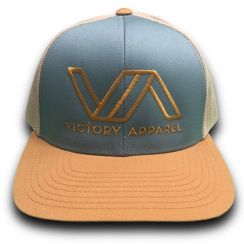 Victory Apparel Trucker Hat (Smoke Blue/Gold/Beige)-Victory Apparel, Inc.