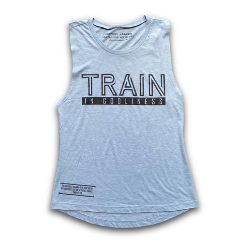 Train in Godliness Women's Muscle Tank (Stonewash Denim) | Victory Apparel, Inc.