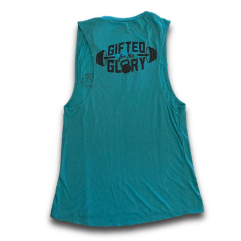 Gifted for His Glory Women's Muscle Tank (Teal)-Victory Apparel, Inc.