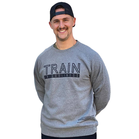 Train in Godliness Lightweight Crew (Heather Grey) | Victory Apparel, Inc.
