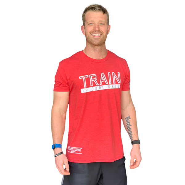 Train in Godliness Tee (Vintage Red)-Victory Apparel, Inc.