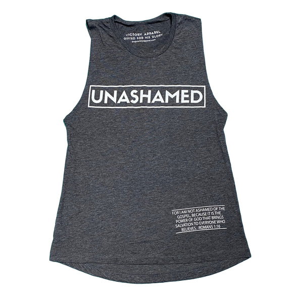 Unashamed Women's Muscle Tank (Charcoal)-Victory Apparel, Inc.