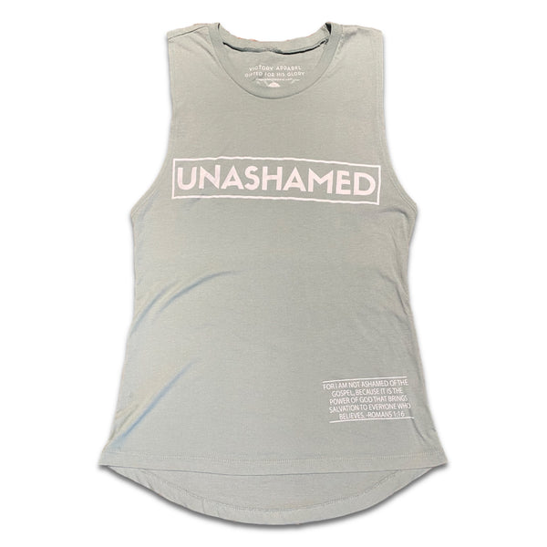 Unashamed Women's Muscle Tank (Stonewash Green)-Victory Apparel, Inc.