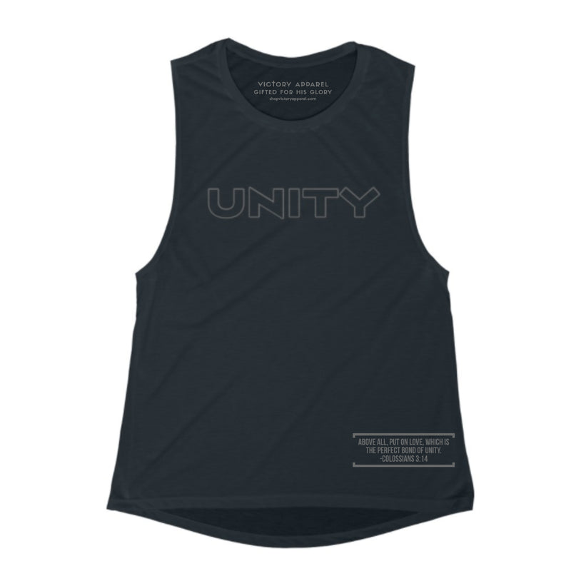 Unity Women's Muscle Tank (Black)-Victory Apparel, Inc.