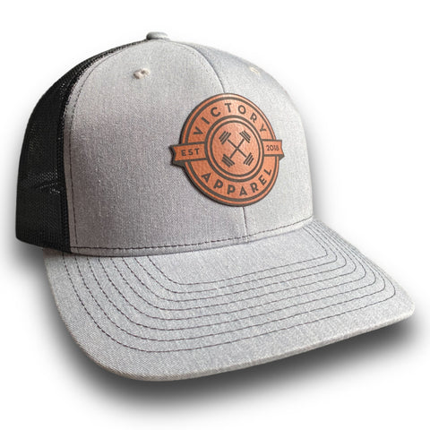 VA Leather Patch Trucker Hat (Heather Grey/Black) | Victory Apparel, Inc.