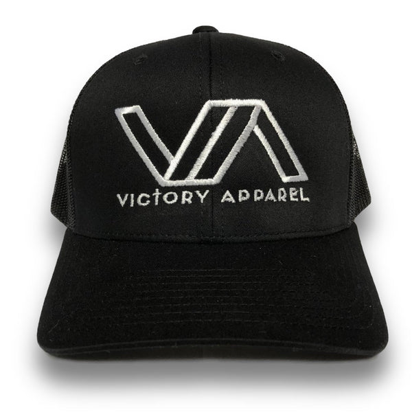 Victory Apparel Trucker Hat (Black w/ White logo)-Victory Apparel, Inc.