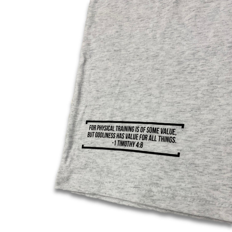 Train in Godliness Tee (Heather White)-Victory Apparel, Inc.