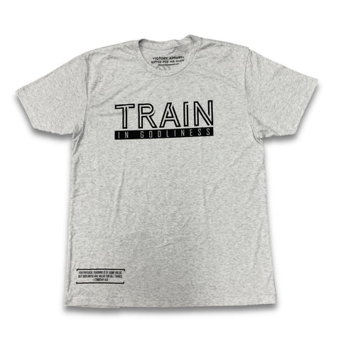 Train in Godliness Tee (Heather White)
