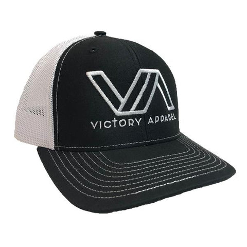 Victory Apparel Trucker Hat (Black and White) | Victory Apparel, Inc.