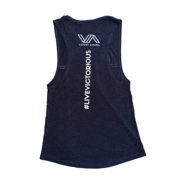 Endure Women's Muscle Tank (Vintage Navy)-Victory Apparel, Inc.
