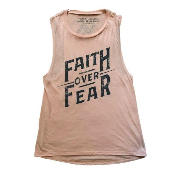 Faith over Fear Women's Muscle Tank (Peach)-Victory Apparel, Inc.