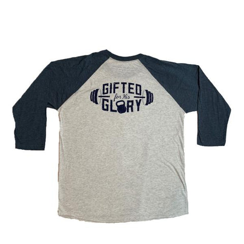 Gifted For His Glory 3/4 Raglan Tee (Heather White/Indigo) | Victory Apparel, Inc.