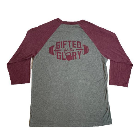 Gifted For His Glory 3/4 Raglan Tee (Grey/Maroon) | Victory Apparel, Inc.