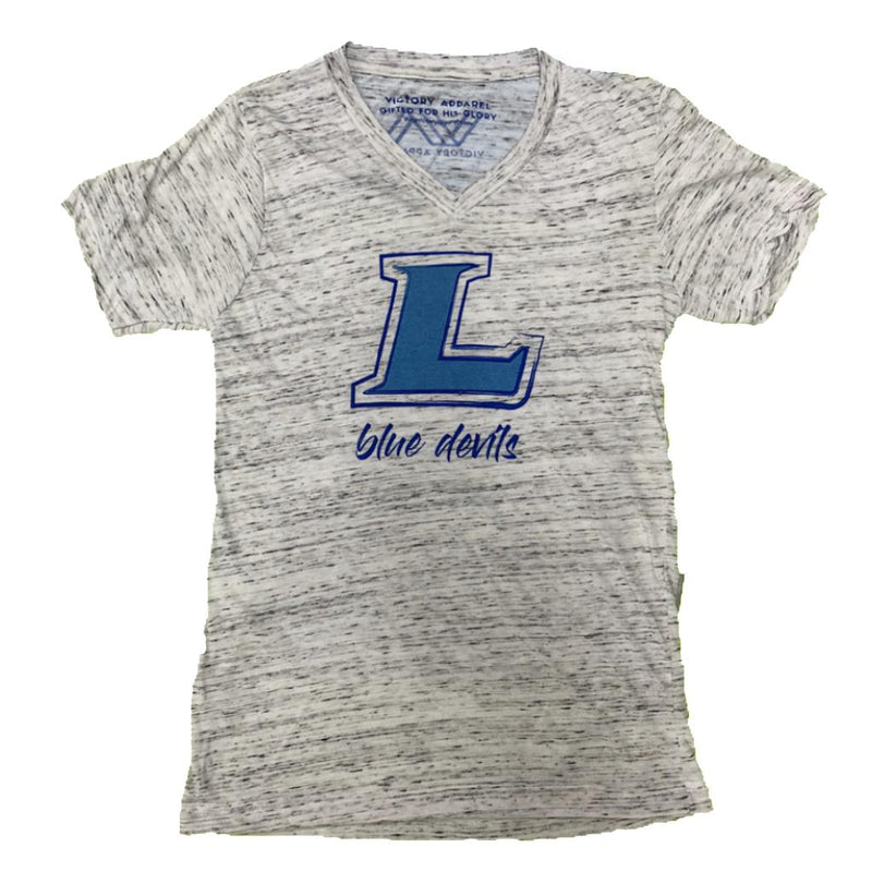 Lebanon Blue Devils V-Neck Tee (White Marble)-Victory Apparel, Inc.