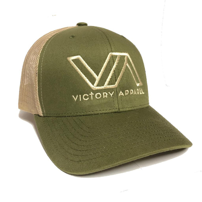 Victory Apparel Trucker Hat (Moss/Khaki)-Victory Apparel, Inc.