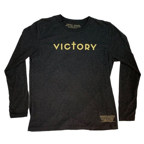 Victory Long Sleeve Tee (Vintage Black & Gold) | Victory Apparel, Inc.