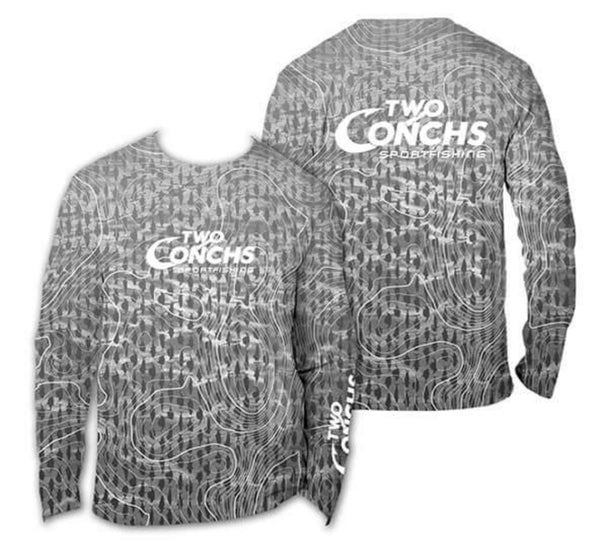 Two Conchs Grey Depth Chart Long Sleeve Performance Shirt