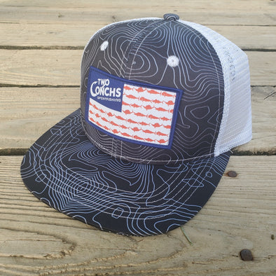 Two Conchs American Flag Bathymetric Trucker Hat