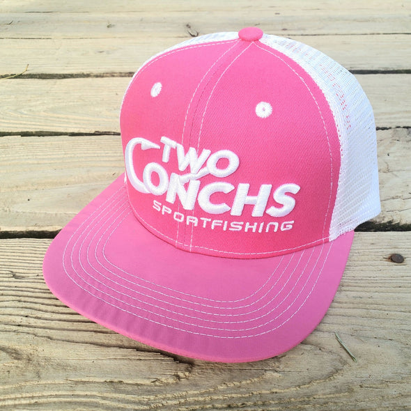 Two Conchs Pink and White Trucker Hat