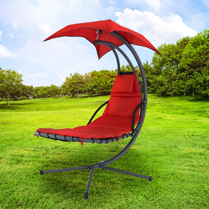 Steel Hanging Lounge Chair with Detachable Canopy- Red - 905173