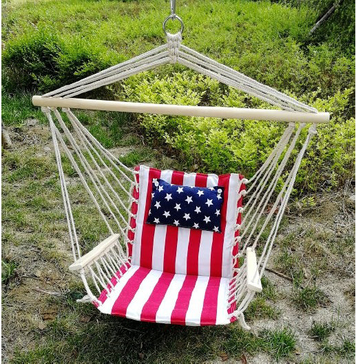 Hanging Chair with Pillow & Arms - Stars & Stripes
