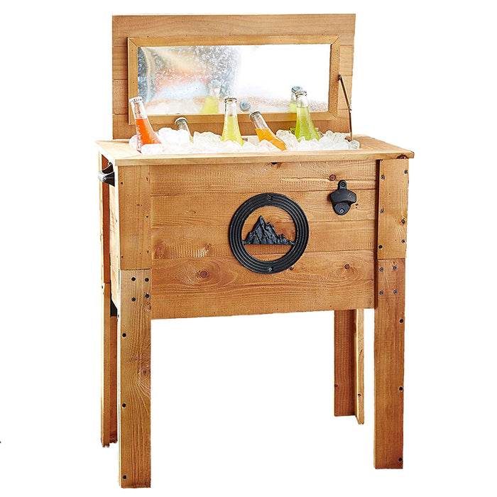 45 Quart Outdoor Patio Wooden Rustic Mountain Cooler