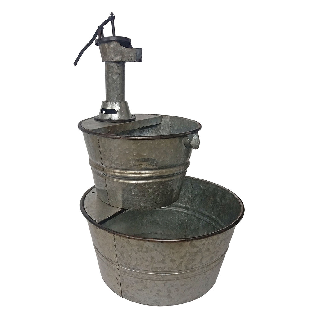 Metal Galvanized Two Tier Metal Barrel Pump Fountain