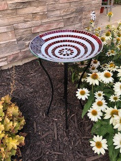 American Flag Mosaic Birdbath with Metal Stand