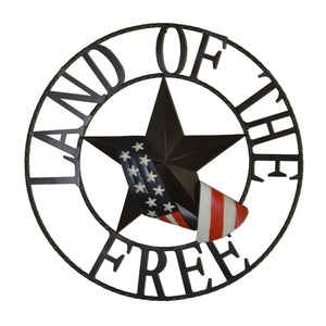 "29"" Land of the Free Metal Metal Outdoor Welcome Wheel"