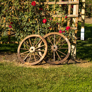 23 Inch Brown Wooden Wagon Wheel Wall Art