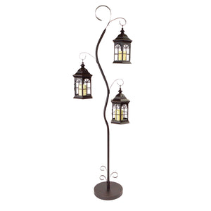 Outdoor Patio Decorative Steel Lantern Post with Removable Lanterns