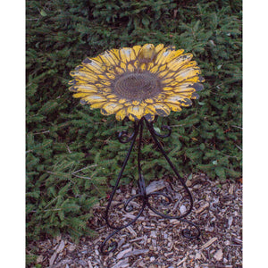 Metal 24 Inch Colorful Yellow Bird Bath