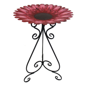 "Metal 24"" Colorful Red Bird Bath"