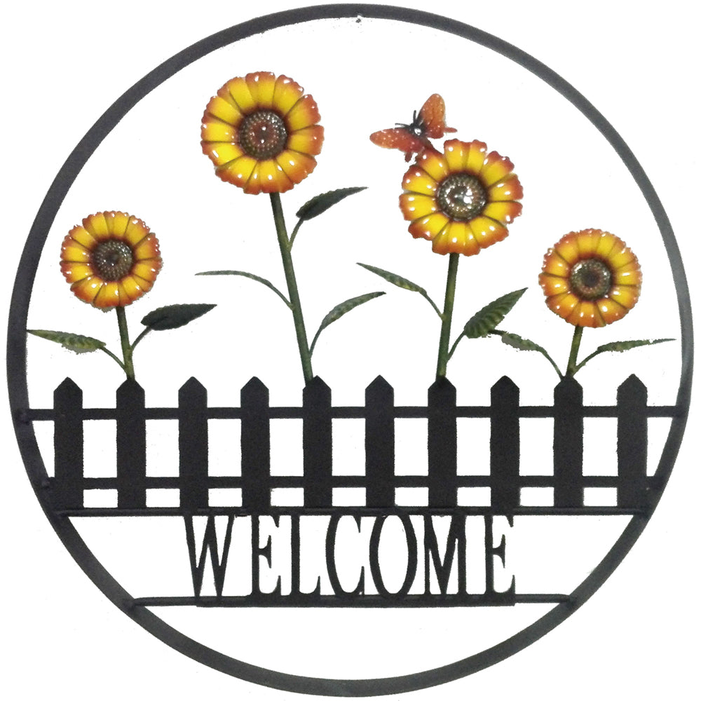 Decorative Outdoor Daisy Welcome Wheel Wall Art