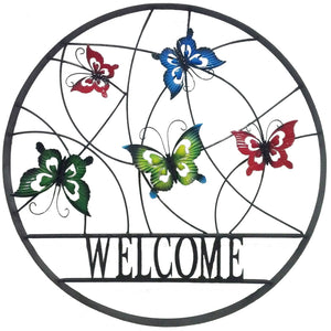 Decorative Outdoor Butterfly Welcome Wheel Wall Art
