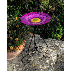 Metal 24 Inch Colorful Purple Bird Bath