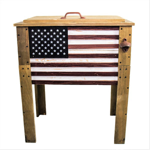 57 Quart Outdoor Patio Wooden American Flag Cooler