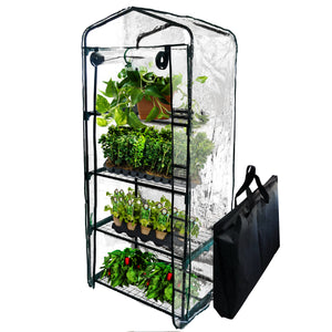 BACKYARD EXPRESSIONS PATIO · HOME · GARDEN 911217 Mini Greenhouse 4-Tier Growing Rack, Portable Carry/Storage Bag