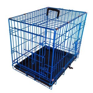 "48""Blue Double Door Wire Dog Kennel"