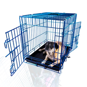 "24""Blue Double Door Dog Kennel"