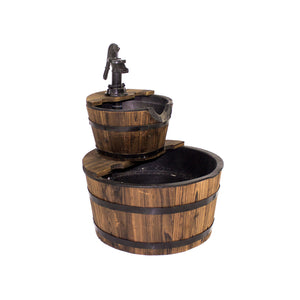 23 Inch Two-Tier Wooden Water Barrel Fountain