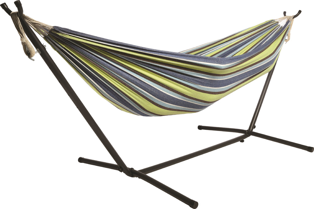 9ft Double Hammock Combo with Carry Bag and Stand - Ocean Floor Pattern