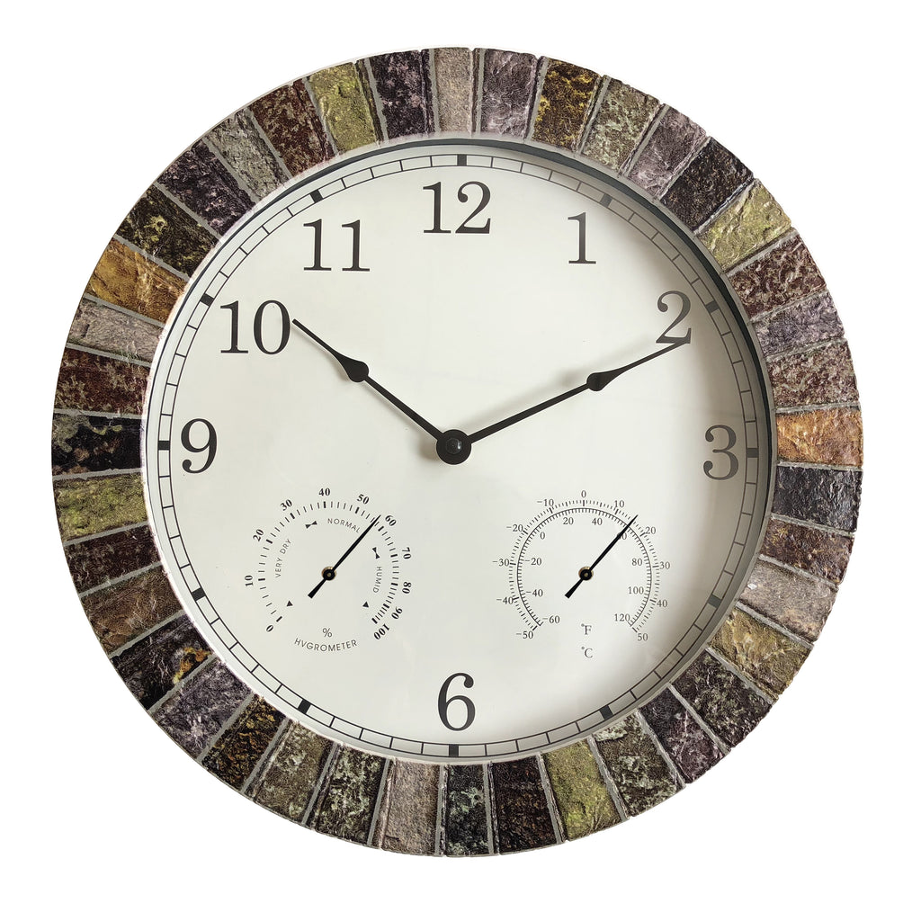 Decorative Weather Monitoring Indoor/Outdoor Stone Clock - Multicolor