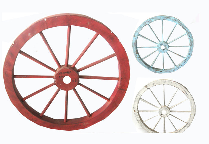 30 Inch Colored Wagon Wheel Wall Art - Red White and Blue Three Pack