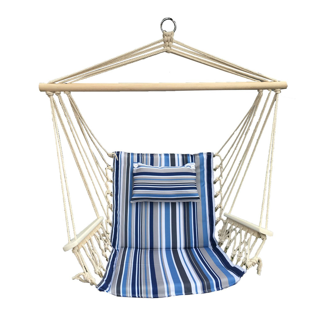 Hanging Chair with Pillow & Arms - Blue Grey and White